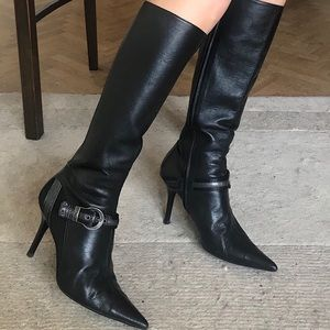 Dior monogram black leather pointy toe boots 40 9